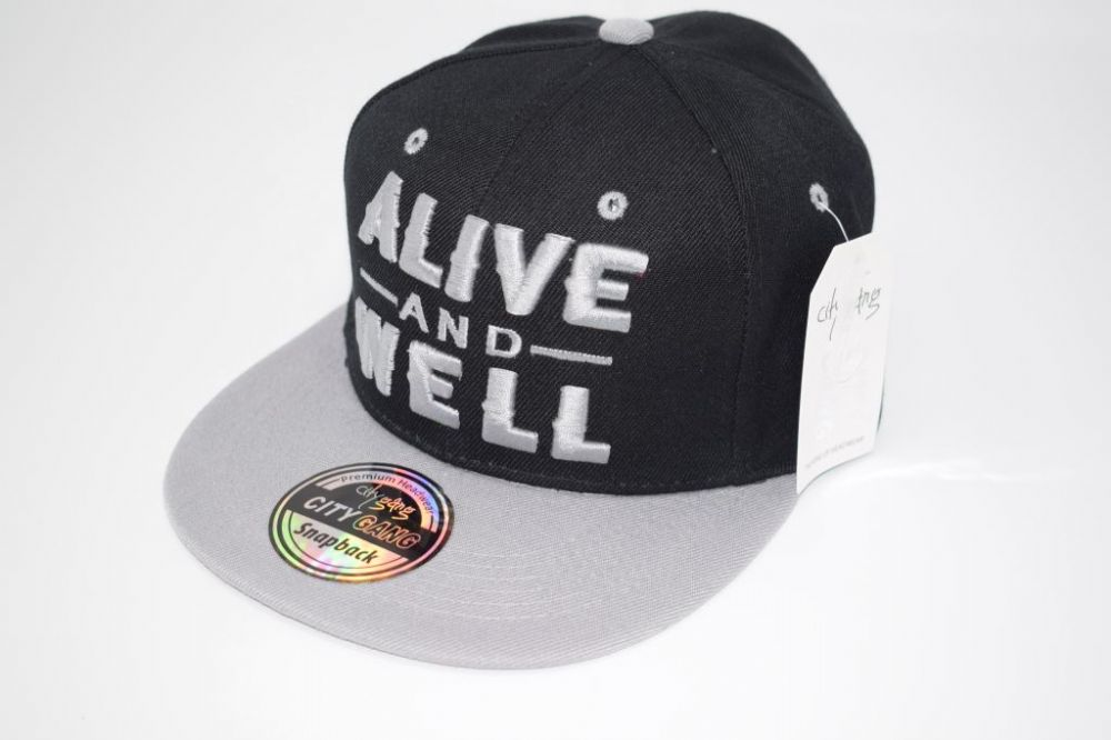 C4885- 'ALIVE AND WELL' Black/Grey Snapback Cap one size fits all adjustable